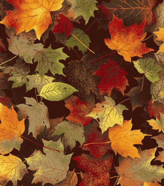 Autumn Inspirations Fabric-Maple Leaves Chocolate