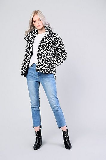 19a425906d209 Womens   Snow Leopard Print Puffer Jacket By Glamorous - Multi in ...