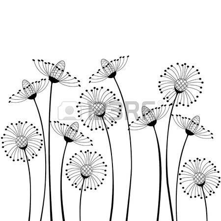 paysage noir et blanc fleurs des champs sur fond blanc illustration dessins pinterest. Black Bedroom Furniture Sets. Home Design Ideas