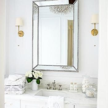 Gold Beaded Beveled Mirror With Glass And Brass Sconces
