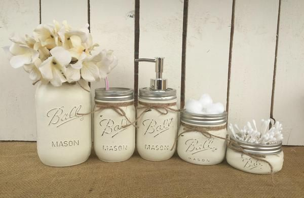 Mason Jar Bathroom Vanity Set / Set of 5 Jars / Seaglass Painted Mason Jars images