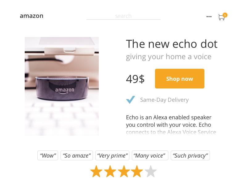 Dailyui 012 Ecommerce Amazon Same Day Delivery Ecommerce Alexa Voice