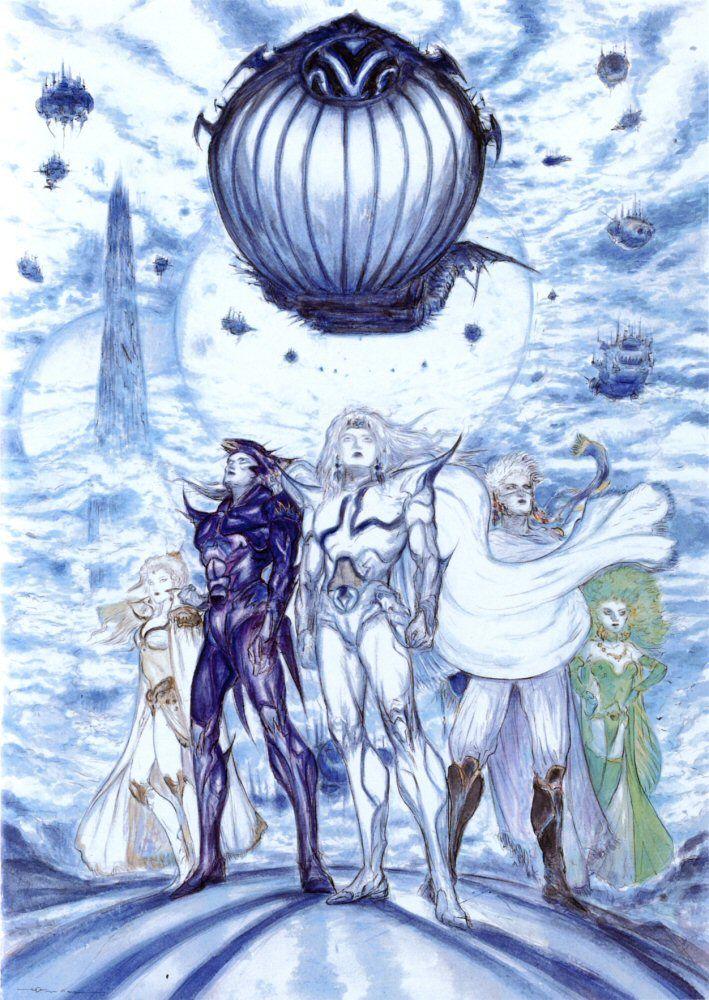 Final Fantasy Iv Cast Yoshitaka Amano Final Fantasy Artwork Final Fantasy Art Final Fantasy Iv