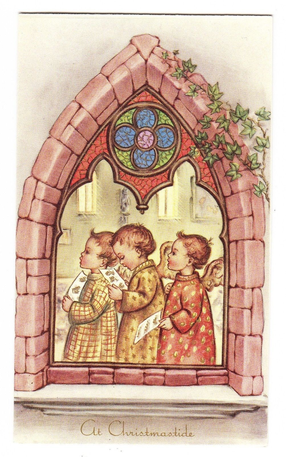 Vintage Beautiful Angels Singing In A Window Greeting Card Ebay