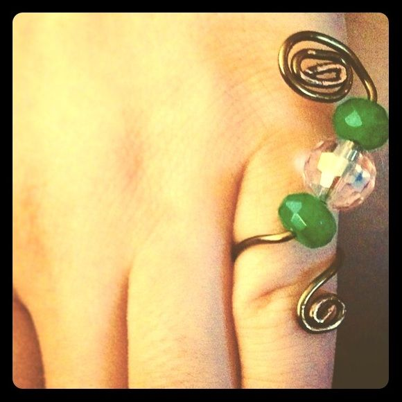 Emerald knuckle ring https://www.etsy.com/listing/232961973/emerald-midi-ring-toe-ring-bronze-wire Jewelry Rings