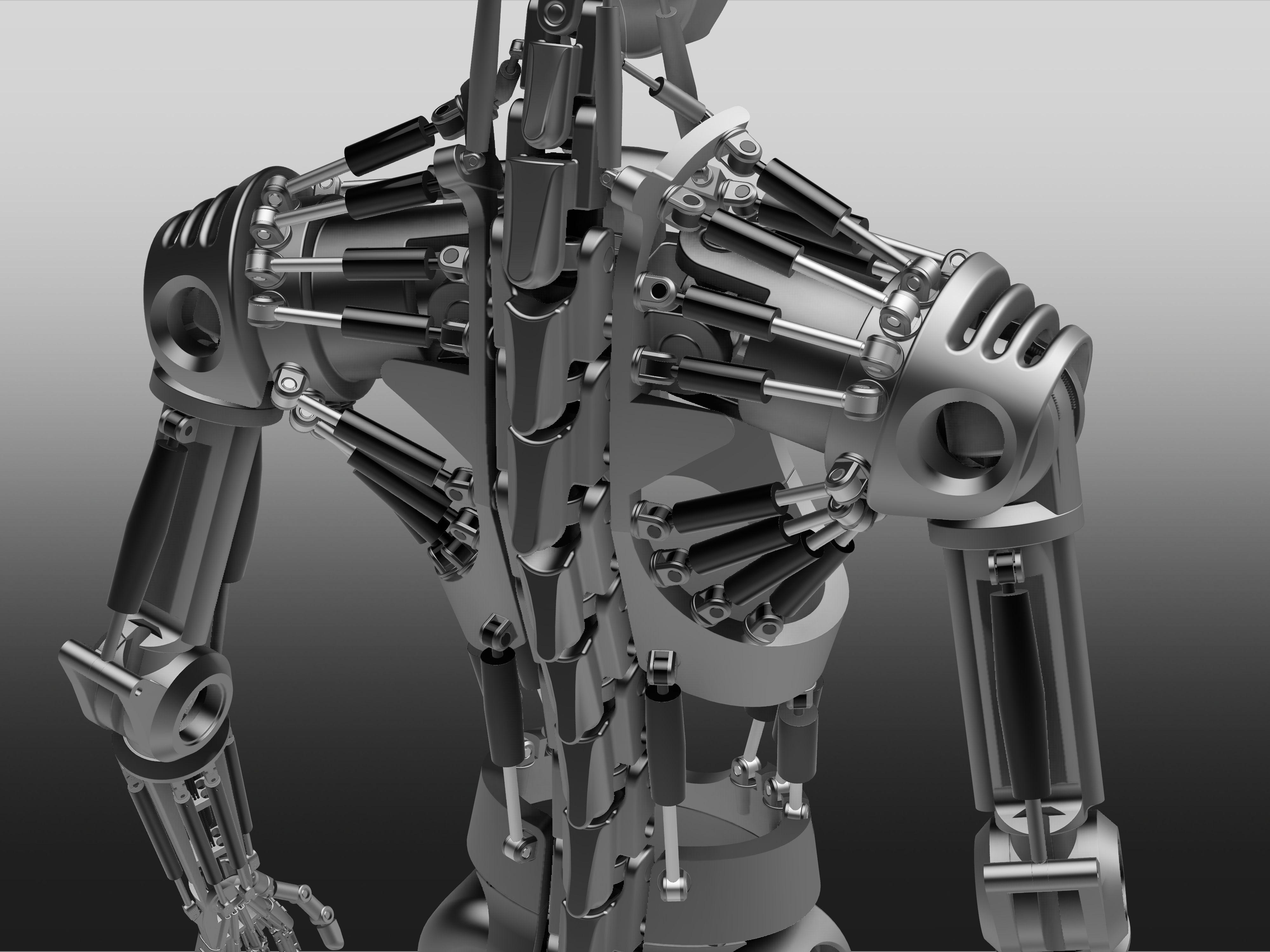 humanoid robot skeleton - step / iges,stl,autodesk inventor - 3d, Skeleton