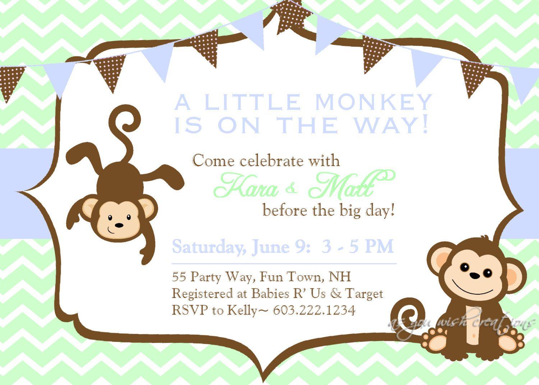 baby shower invitation monkey chevron blue green brown - monkey, Baby shower invitations