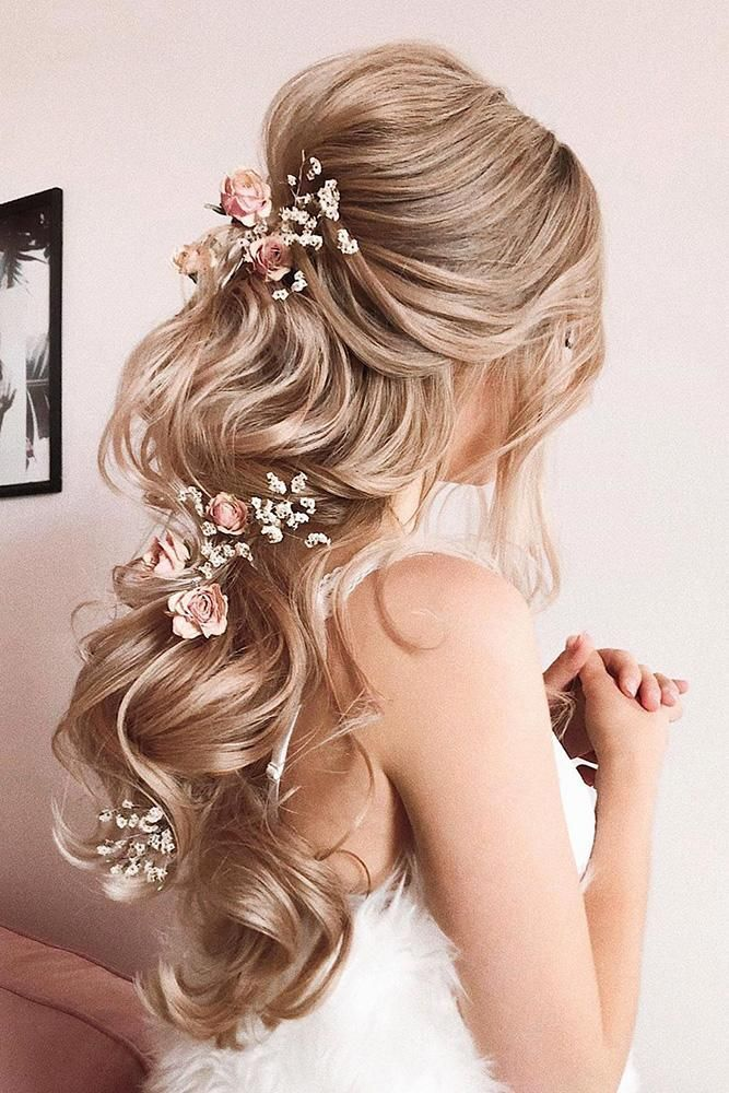 33 Stylish Wedding Hairstyles With Hair Down Wedding Forward Hair Styles Half Up Hair Elegant Wedding Hair