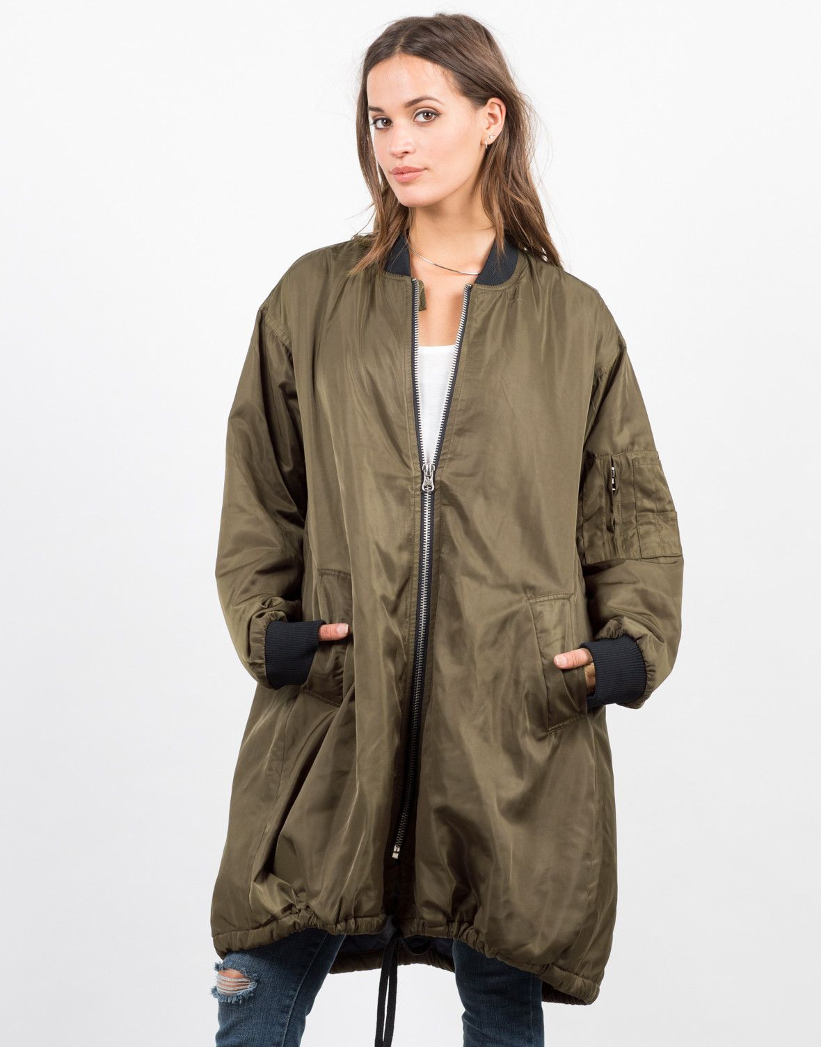 874a51feef3e7 Long Bomber Jacket - Oversize Jacket - Womens Outerwear – Outerwear –  2020AVE
