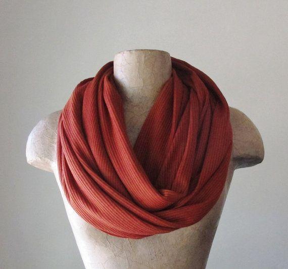 Rust Red Sweater Scarf - Pumpkin Infinity Scarf - Deep Burnt Orange Circle Scarf, Loop Scarf,  Autumn Scarf