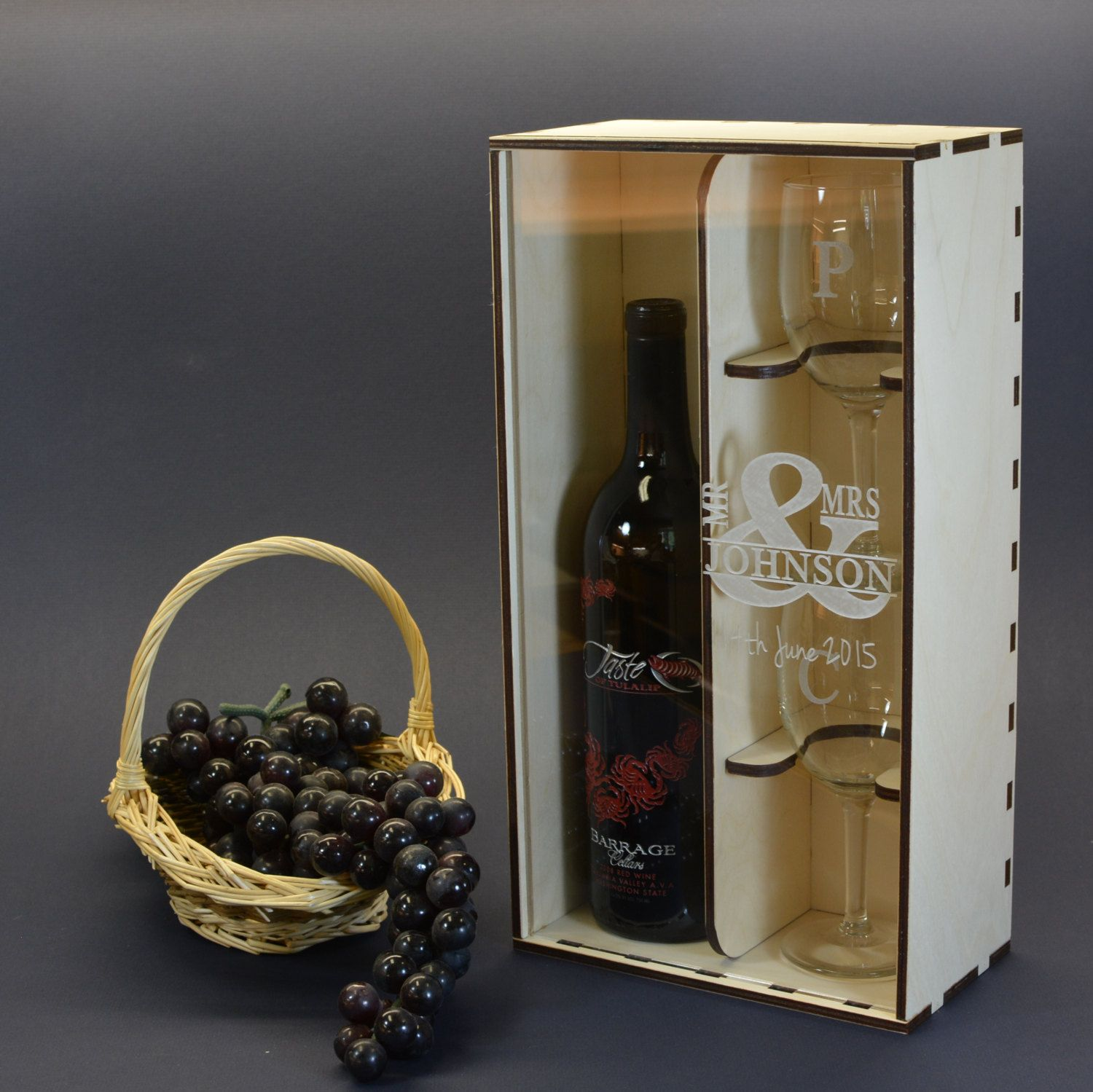 Wine Gift Box With Clear Acrylic Front Cover And 2 Personalized