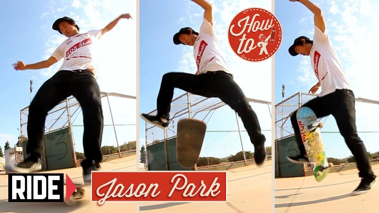 Howto skateboarding frontside no comply flip with jason