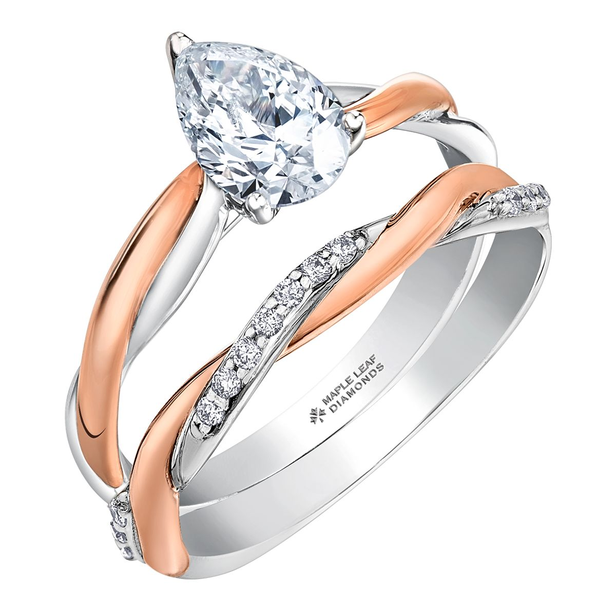 Canadian Pear Shaped Diamond Engagement Ring with White