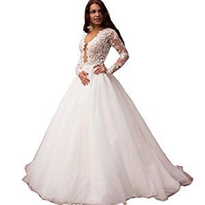 a2f105d3b7e Yuxin Vintage Lace Ball Gown Wedding Dresses For Bride 2017 Sexy Deep V  Neck Princess Long