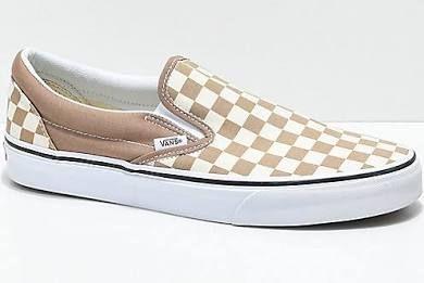 96478aa8a2 Vans Slip-On Tiger Eye Tan   White Checkered Skate Shoes - Men s ...