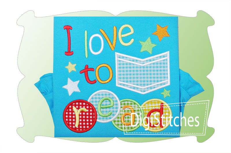 I Love To Read Applique