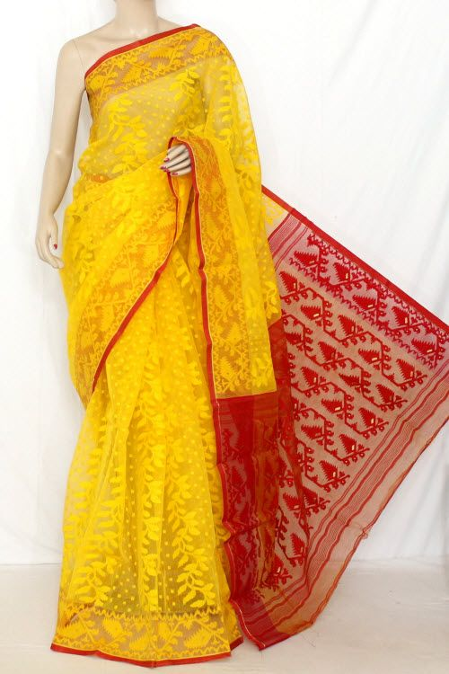 1f3beb2286 Golden Yellow & Red Handwoven Bengal Kora Tant Cotton Saree (Without  Blouse) 13897