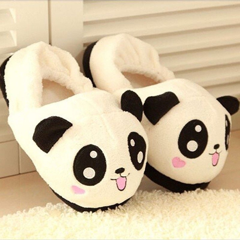 af2d0fda071 Women Cute Panda Eyes Slippers Lovely Cartoon Indoor Home Soft Shoes Funny  Hot