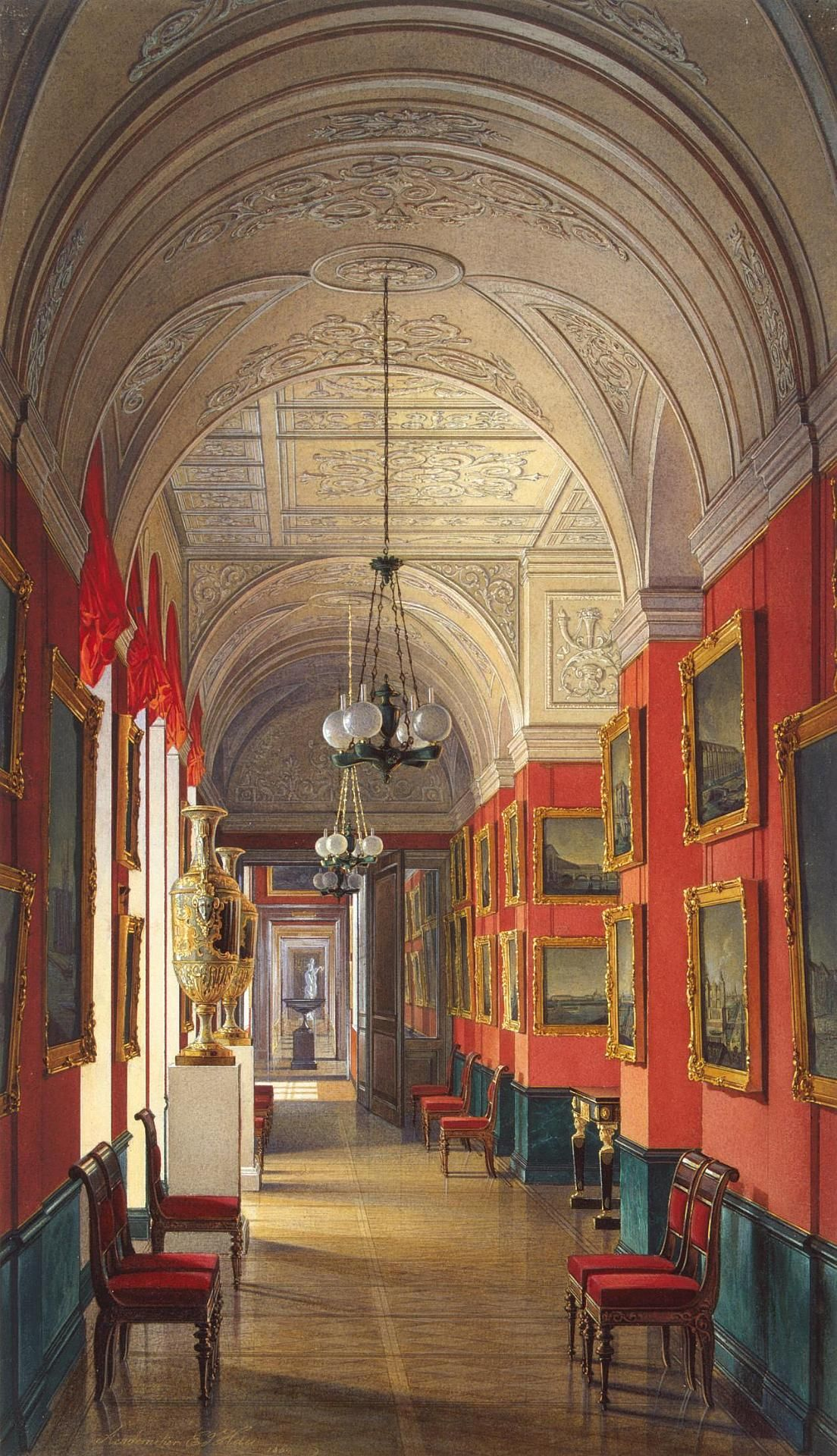 """Interiors of the Small Hermitage.The Gallery of St Petersburg's Views Hau, Edward Petrovich Russia, 1864 """""""