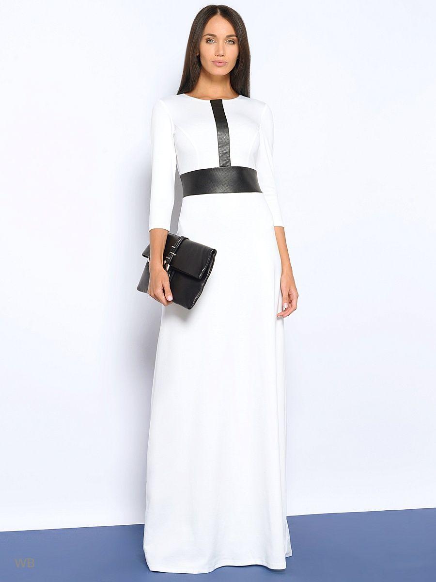 2acd382f160 Длинное платье из трикотажа с вставками из эко-кожи.
