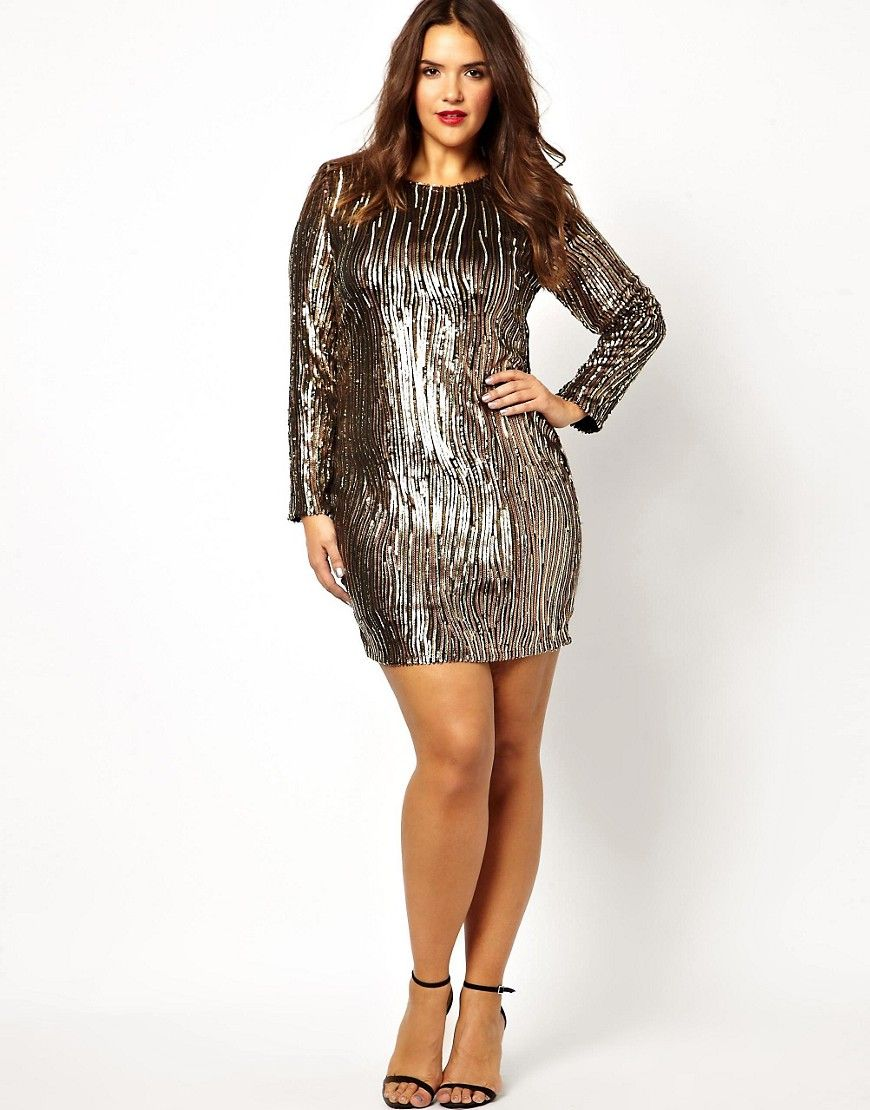 Plus Size Long Sleeve Sequin Dress   Dresses for all the ...