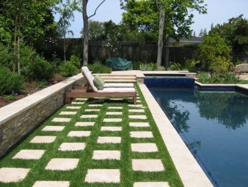 concrete pavers with grass in between - Google Search ... on Backyard Ideas Concrete And Grass id=74443