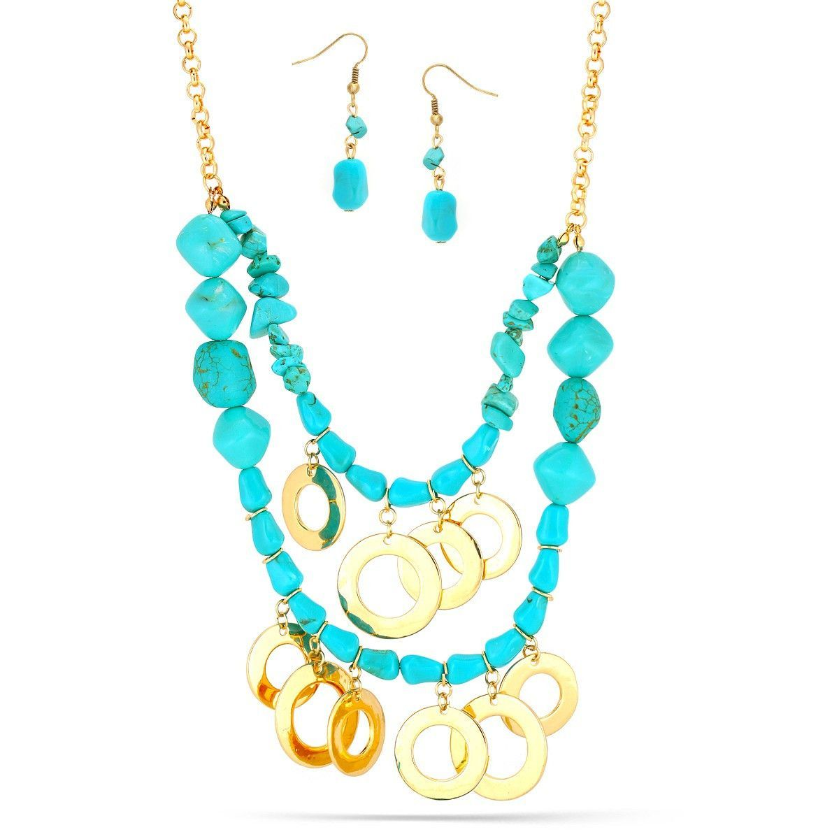 Gold-Tone Metal Turquoise Necklace And Earrings Set
