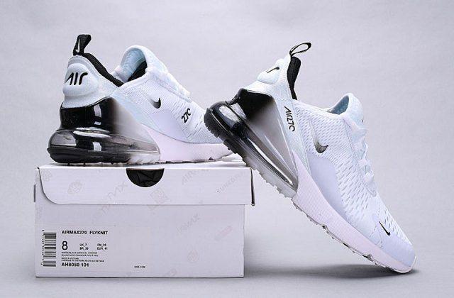 a5288163f2 Nike Air Max 270 White Black Spectrum AH8050-101 Men's Women's Running Shoes