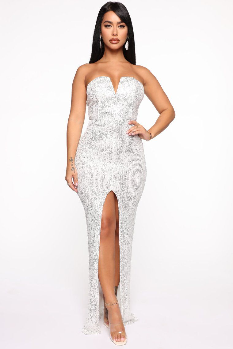 Sparkle All Night Maxi Dress Silver in 2020 Dresses