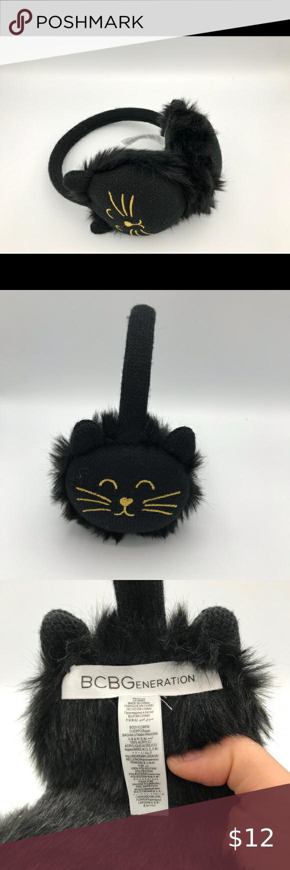 Brand New Black Fluffy Kitty Cat Ear Warmers Cat Ears Ear Warmers Kitty