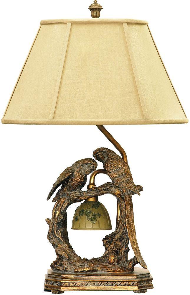 Traditional Table Lamp Twin Parrots 1 Light Atlanta Bronze Finish Metal  Linen