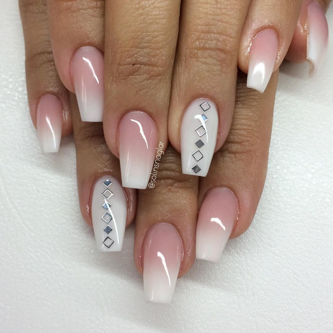 pink and white ombre nails - HD 1080×1080