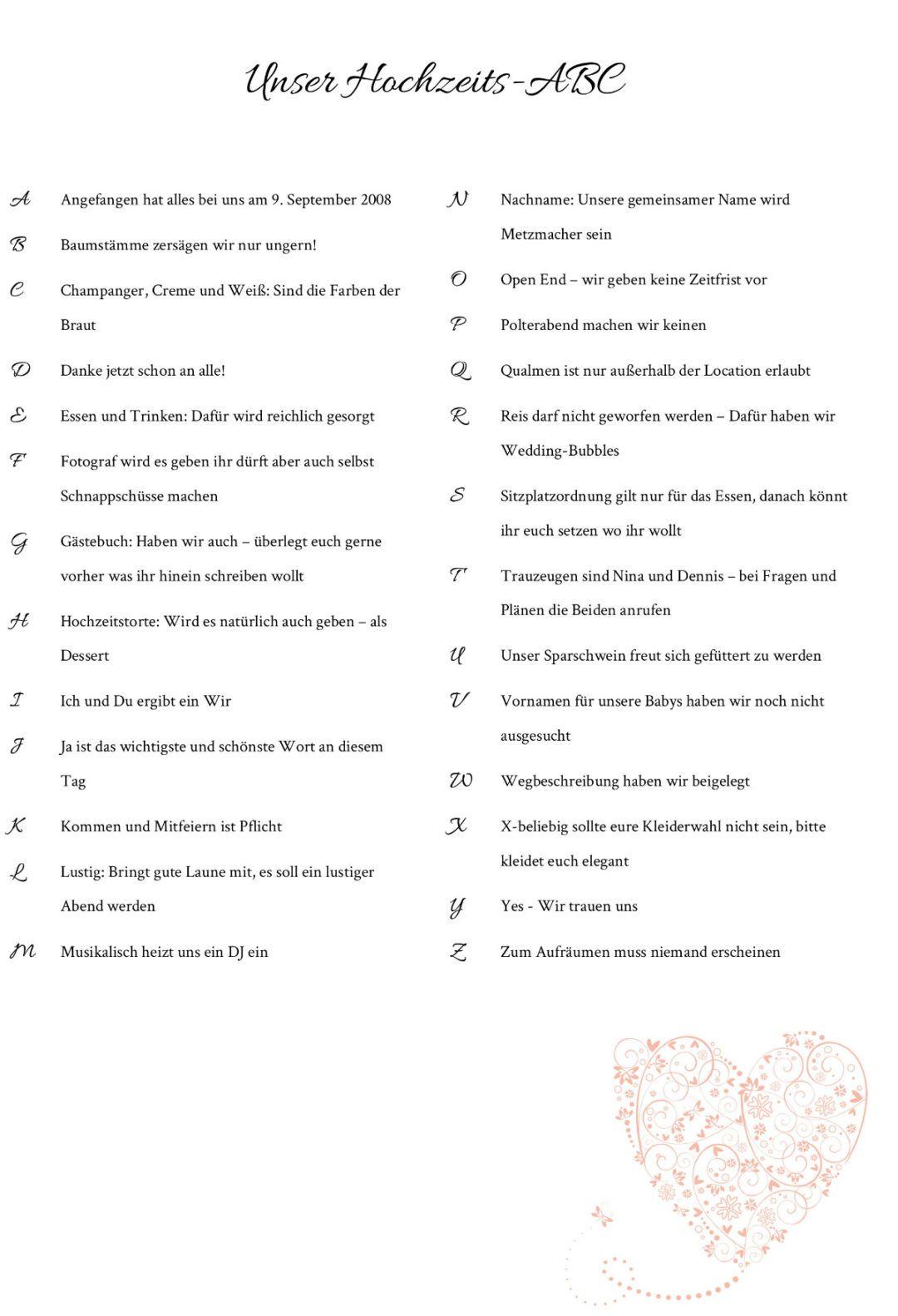 Hochzeits-ABC für die Hochzeitsgäste selber machen