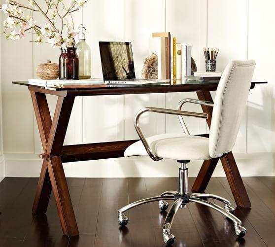 ava wood desk espresso stain pottery barn apartment decor