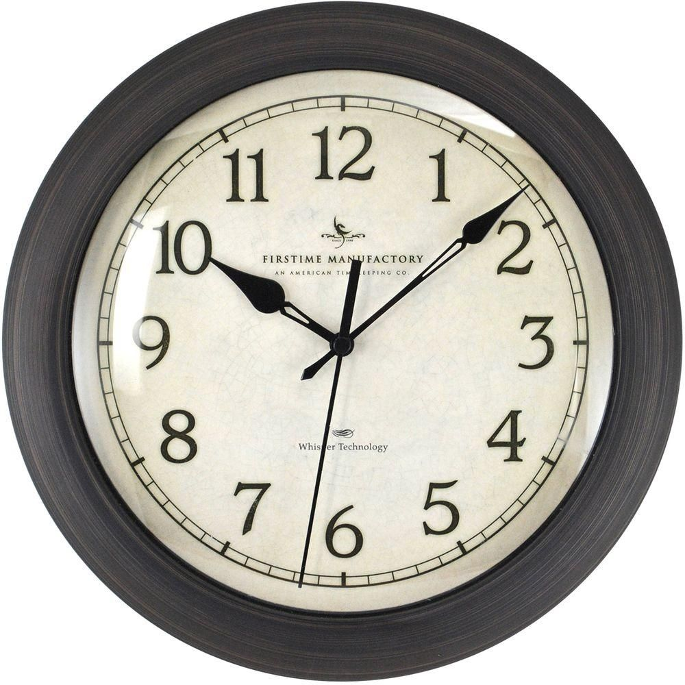 Firstime 11 In Bronze Wall Clock With Whisper Technology 00168 The Home Depot Wall Clock Classic Round Wall Clocks Traditional Wall Clocks