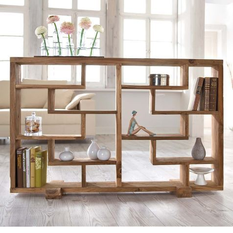 Raumteiler Woody, naturbelassen, Teak-Holz Vorderansicht - holz regal als raumteiler idee einrichtung
