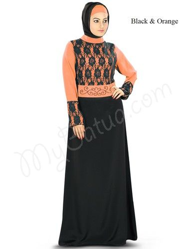 Formal Occasion Abaya with Flower Net : Sarrinah Abaya!  Style No - Ay-336  Shopping Link: http://www.mybatua.com/sarrinah-abaya  Available Sizes: XS to 7XL (http://www.mybatua.com/size-chart/#ABAYA/JILBAB)  An essentially designed Abaya for formal occasion, the top is detailed with flower net and bead hand work, this dress is chic comfort and luxury fused  -Band collar neckline -Net attached at the top -Bead work at wasit line -Straight sleeves with net attached at bottom -Utility pockets…