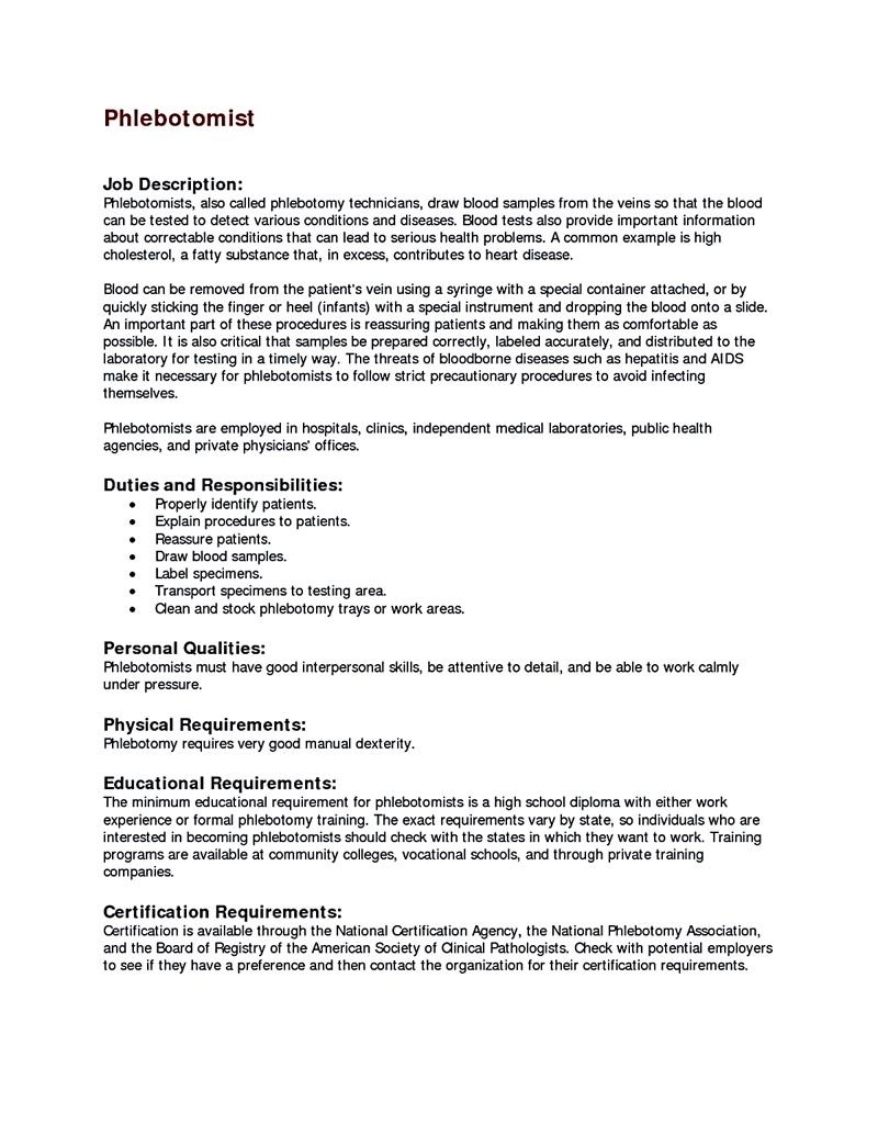 Phlebotomy Resume Phlebotomy Resume Includes Skills Experience