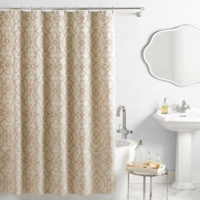 VueR Signature Iron Gates Jacquard Shower Curtain In Ivory Tan