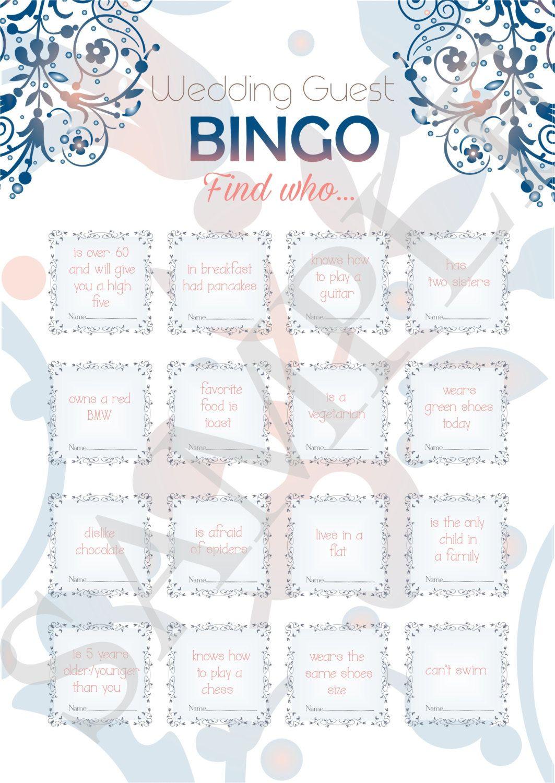 Printable Wedding Bingo Wedding Guest Games Reception