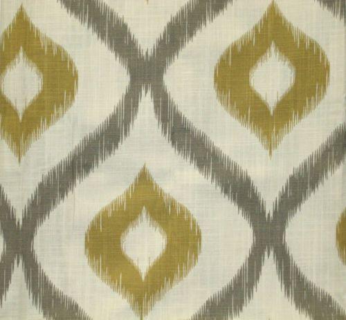 CYNTHIA ROWLEY 2 WINDOW PANELS IKAT DRAPES GROMMET GRAY GOLD CREAM 50x84 EA  NEW  Cynthia Rowley Curtains