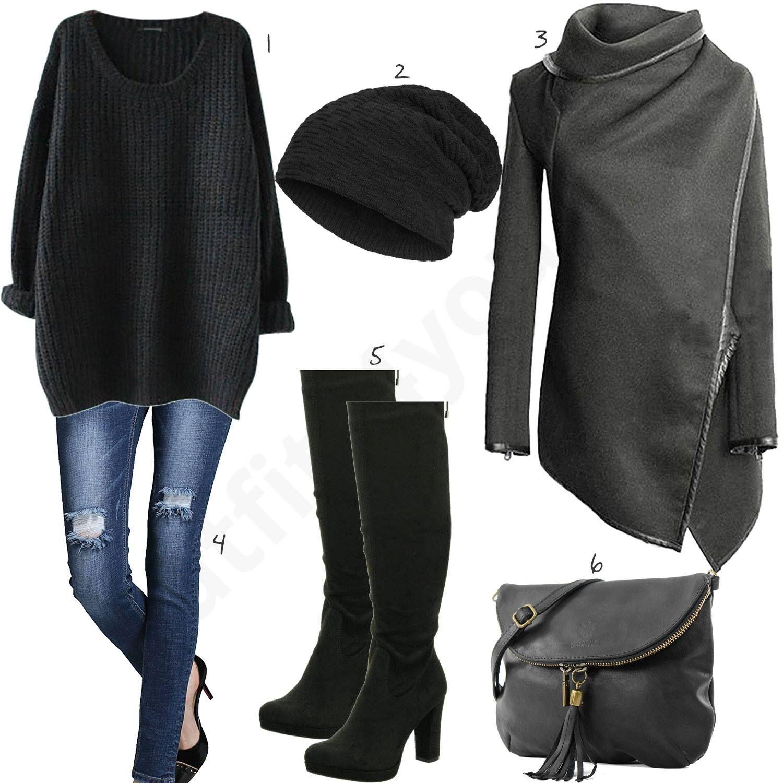 Bequemes Outfit mit Strickpullover, Cardigan und Stiefeln