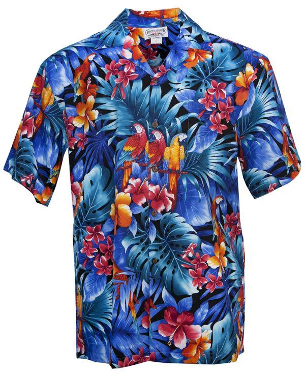 7a10b3e8 Parrot Jungle Mens Hawaiian Aloha Shirt in Black | Men's Hawaiian ...