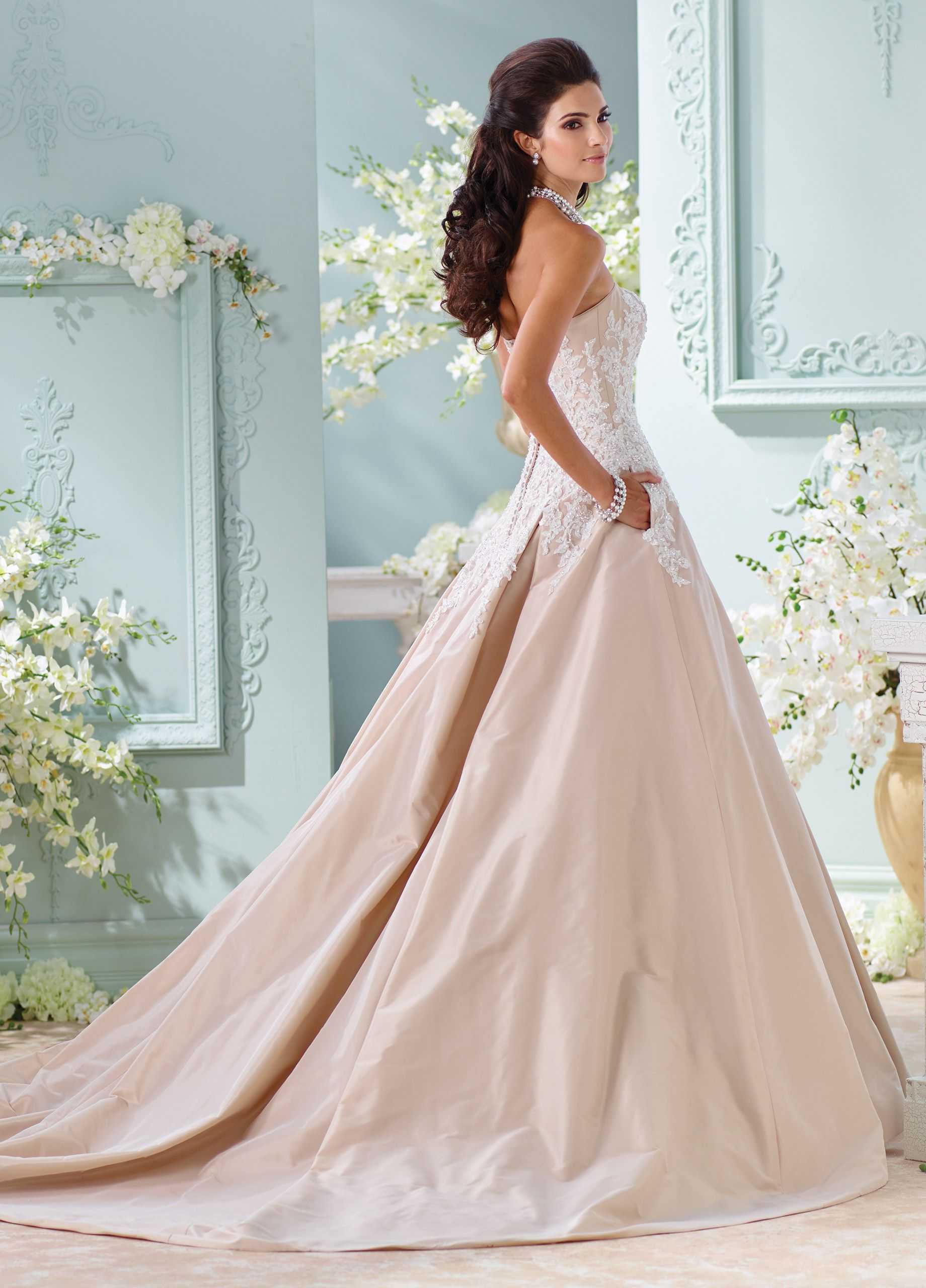 Champagne Taffeta & Lace Ball Gown Wedding Dress-116217 Alleen ...