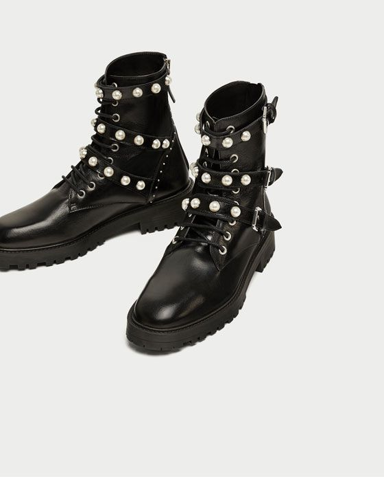 6cd5ac38cce Image 3 of LEATHER ANKLE BOOTS WITH FAUX PEARLS from Zara | Wish ...