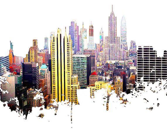 New york skyline skyline urban silhouette cityscape art print poster