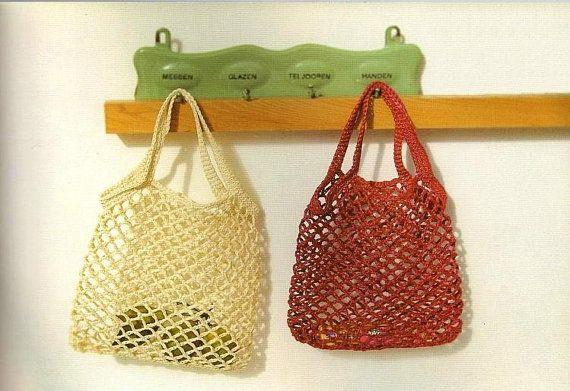 Spring Summer crocheted bag, handbag, tote, Rayon Raffia bag, No. 207, with cotton pouch