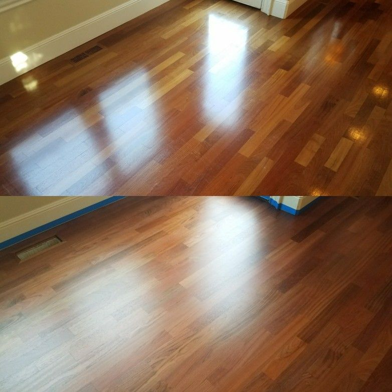 Top 3 1 4 Inch Brazilian Cherry Hardwood Aged With Semi Gloss Finish Bottom What It Looks Like After A Complete Sandin Flooring Wood Floors Hardwood