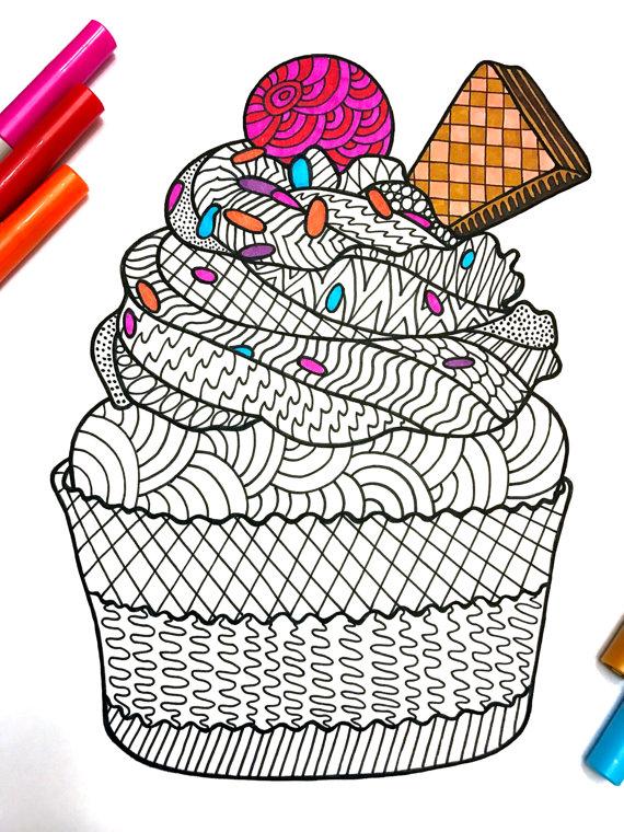 Cupcake - PDF Zentangle Coloring Page | Mandalas, Dibujo y Colorear