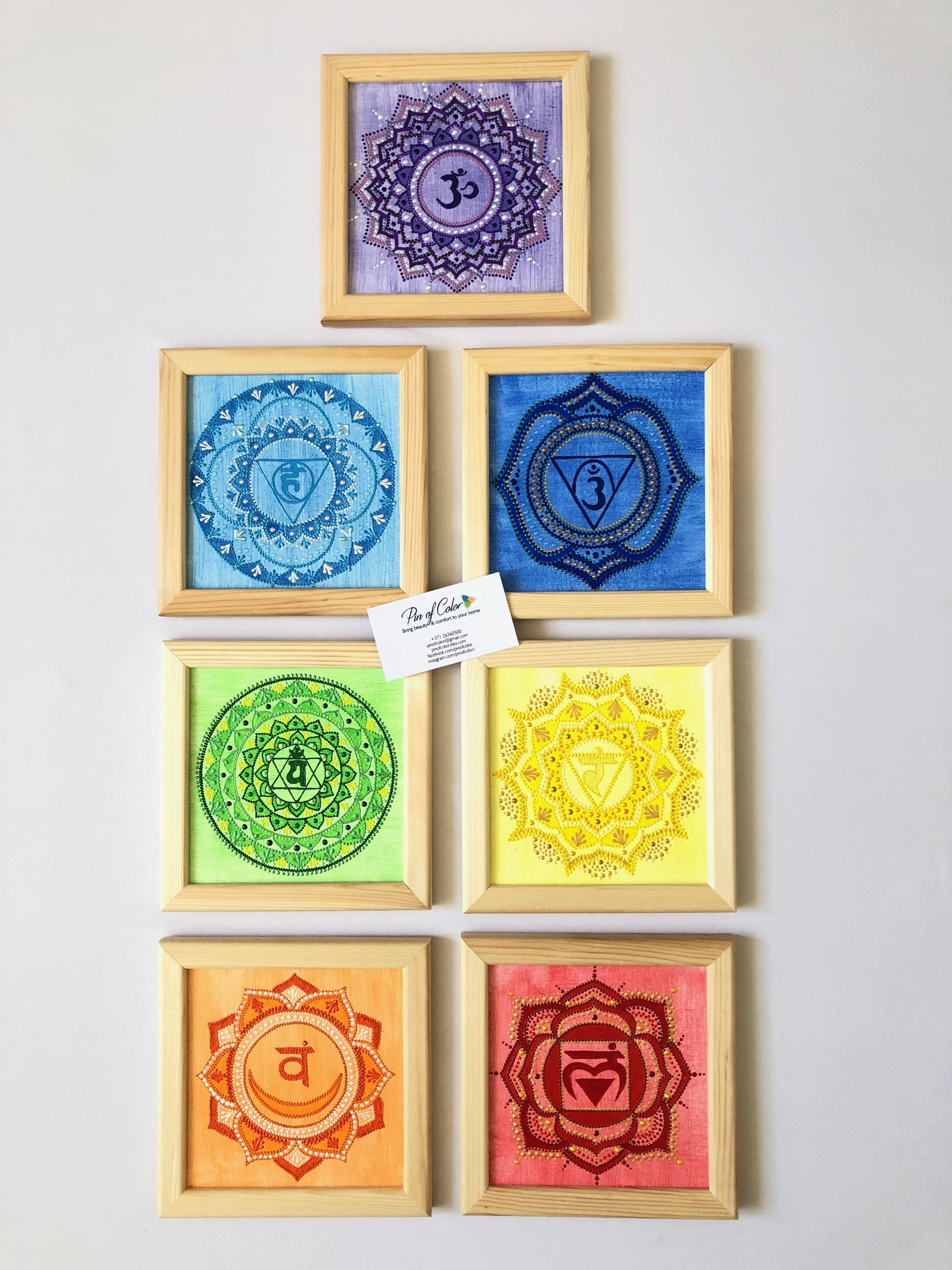 7 Chakras wall art. Chakras set on canvas. Yoga studio decor. Zen ...